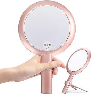 15 x vergrotingsspiegel, dubbelzijdige make-upspiegel, 15-voudige, 1-voudige vergroting, voor hand/met standaard, voor mak...