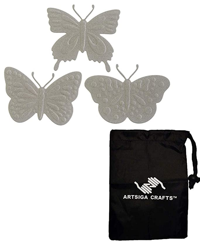 Darice Embossing Die Cuts for Card Making Butterflies 2014-104 Bundle with 1 Artsiga Crafts Small Bag
