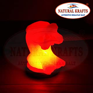 Himalayan Salt Lamp USB Light Dolphin Shape with Pink Salt Crystal Multi Colour LED Bulb Free Certified Cable Included – by NATURAL KRAFTS