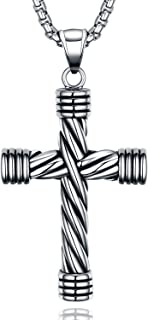 Men's Cross Necklace,Stainless Steel Cross Pendant for Men,Biker Vintage Religious Cool Silver