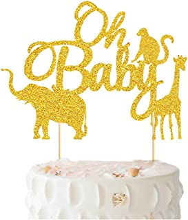 Oh Baby Cake Topper - BUSOHA Gold Glitter Jungle Wild Safari Animal Cake Picks For Baby Showers and Boys Girls Gender Reveal Parties Cake Decorations