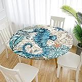 Fansu Runde Tischdecke Garten Abwaschbar, 3D Motiv Serie Polyester Fleckschutz Tischdecken Größe wählbar für Gartentisch, Outdoor in Kiche, Haushalt & Wohnen (Durchmesser 200cm,Hippocampus)