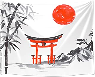 JAWO Japanese Tapestry Wall Hanging, Fuji Mountain Sakura Sunset Tapestries, Polyester Fabric Large Wall Tapestry for Home Living Room Bedroom Dorm Decor 80W X 60L Inches