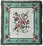 Rose Woven Tapestry Throw Blanket with Fringe 50 X 60 Inches…