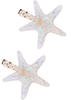 Monrocco 2Pcs Starfish Hair Clips Sea Star Hair Clip Beach Hair Clips Pearl Hair Pins, Rainbow Color Starfish Hairpin for Women