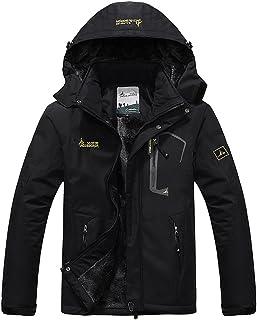 93474cfe65e6 AbelWay Men s Mountain Waterproof Windproof Fleece Ski Hooded Jacket Rain  Coat