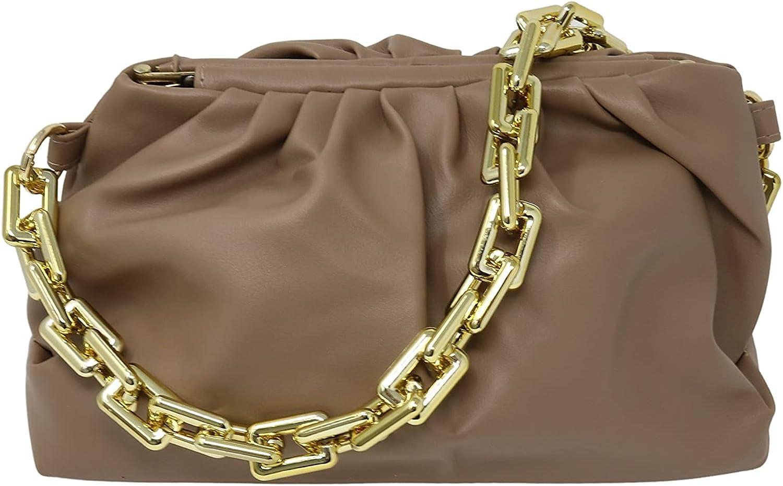 Cloud Dumpling Chain Pouch Bag   Shoulder or Clutch Bag   Chunky Chain Strap (Camel)