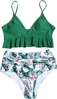 Bsjmlxg Women Sexy Deep V Ruffle Solid Cropped Tops Two Piece Bikini Set Boho Print High Waisted Bottom Beachwear