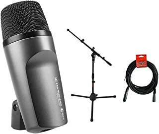 Sennheiser E602 II Cardioid Instrument Microphone with MS-5220T Tripod Microphone Stand & 20' XLR-XLR Cable Bundle