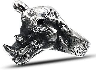 LILILEO Jewelry Titanium Steel Exaggerated Rhino Head Animal Ring for Men's Rings