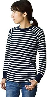 JEMORGAN (ジェイイーモーガン) レディース ボーダー 長袖ラグランサーマルTシャツ パックT (J8045-596) (フリーサイズ, ネイビー× ホワイト(88))