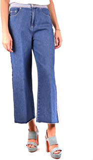 Red Valentino Womens Denim Stone Washed & Hatching Embroidery Pants
