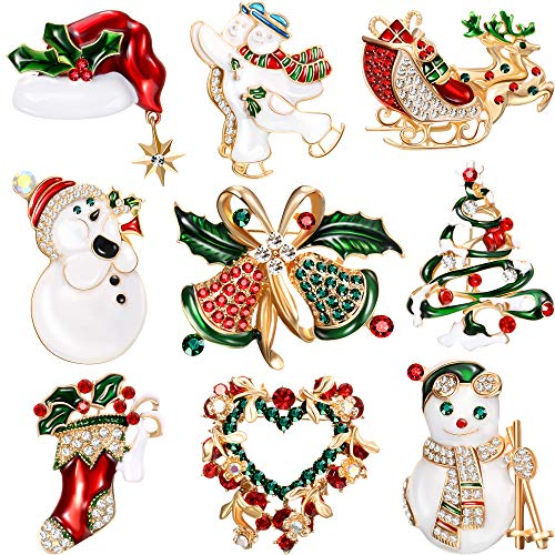 Yaomiao 9 Pieces Christmas Brooch Pin Set Rhinestone Crystal Christmas Element Pins Snowman Bells Christmas Trees Jewelry Pins for Xmas Decorations (Classic Style)