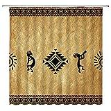 Southwestern Duschvorhang Indianer Kokopelli Ethno Tribal Vintage geometrisch Retro Stoff Badezimmer Dekor Sets mit 12 Haken, 180 x 180 cm, braun schwarz