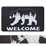 RORA PVC Outdoor Indoor Welcome Doormat Black Bear White Forest Western Rustic Cabin Rugs Washable Rubber Backing Non-Slip Shoes Mat Scraper Carpet Entrance Rugs for Garage Patio Garden(17.3'x29.5')