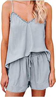 Allywit Women's Summer Solid Jumpsuit Casual V Neck Loose Sleeveless Elastic Waist Playsuit Outfits Pajama Set