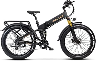 W Wallke X3 Pro Folding Ebike 48V 14AH Lithium Battery, Electirc Bike 750W Motor, Full Suspension, 26 inch Fat Tire Electr...