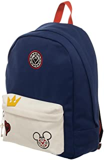 Kingdom Hearts Bag - Navy Blue and Whte Backpack with Kingdom Hearts Patches
