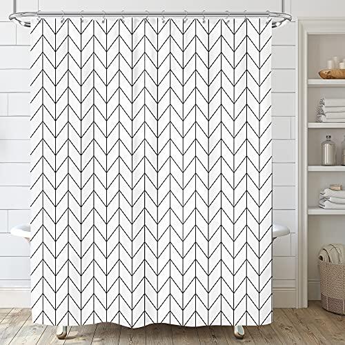 Riyidecor Chevron Shower Curtain Geometric Herringbone 72Wx96H Inch Striped Extra Long Simple Modern Classy Neutral Contemporary 12 Pack Metal Hooks Decor Fabric Bathroom Set Polyester Waterproof