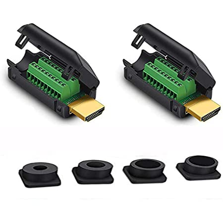 Jienk HDMI Solderless Male Quick Connector, Port Terminal Solderfree Breakout Connector Board with Case Accessories(2 Pack)