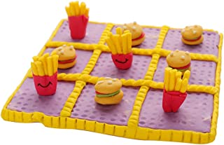 Classic Tic Tac Toe Board Game Toy Indoor Activity, Family Travel Games for Food Lover Cross and Nought Brain Teaser Puzzl...