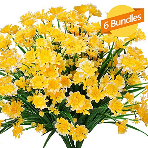 ArtBloom 6 Bundles Outdoor Artificial Daisies Fake Flowers UV Resistant Shrubs, Faux Plastic Greenery for Indoor Outside Hanging Plants Garden Porch Window Box Home Wedding Farmhouse Decor (Yellow)