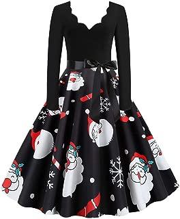Mlide Long Sleeve Dress Scalloped v Neck Elegant Christmans Clothing Long Skirt,Christmas Party Dress(S-3XL)