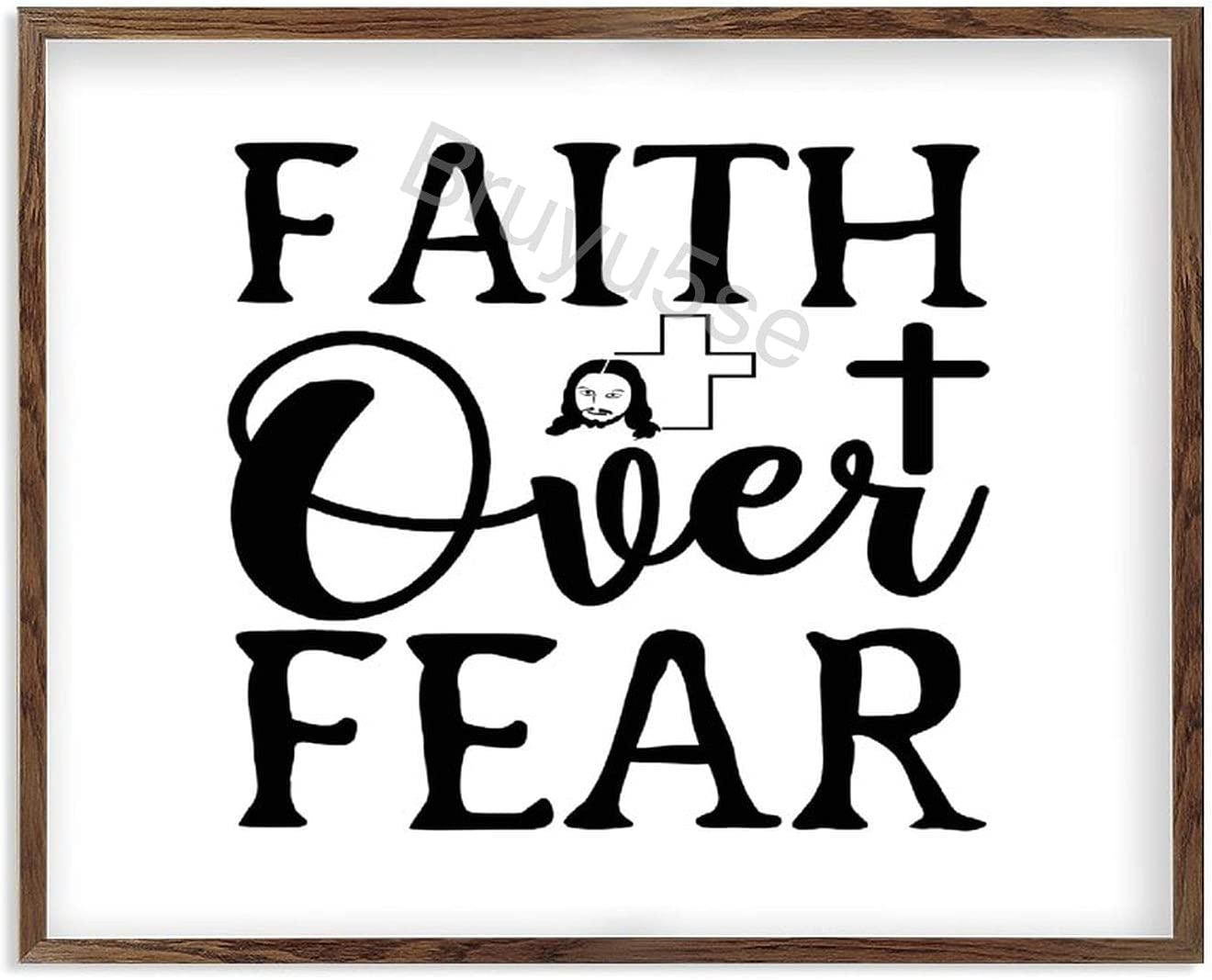 Framed 送料無料お手入れ要らず Wooden Signs Faith Over Rustic Home Decoration 推奨 Fear Farm