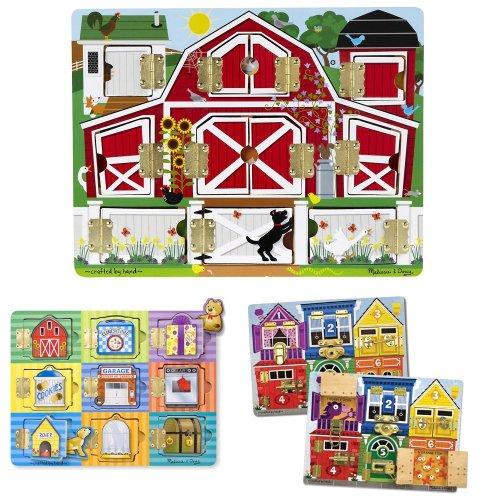Melissa & Doug Magnetic Farm Hide and Seek, Latches Board, and Magnetic Hide and Seek Board Bundle