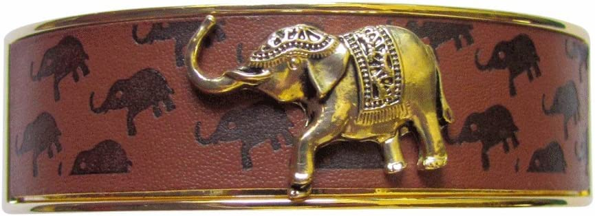 Gold Tone Cuff Bracelet with Leather Inlay and Gold Elephant Centerpiece