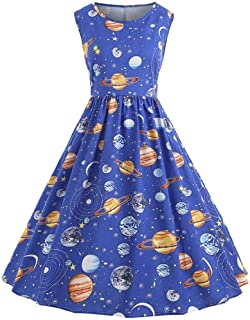 54c6de7df2c9 Nicetge Women s Vintage Sleeveless Starry Night Sky Planet Print Dress A  Line Cocktail Party Dress