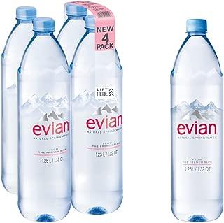 evian Natural Spring Water 1.25 Liter, 42.27 Fl Oz (Pack of 4), Naturally Filtered Spring Water in Bulk-Size Water Bottles