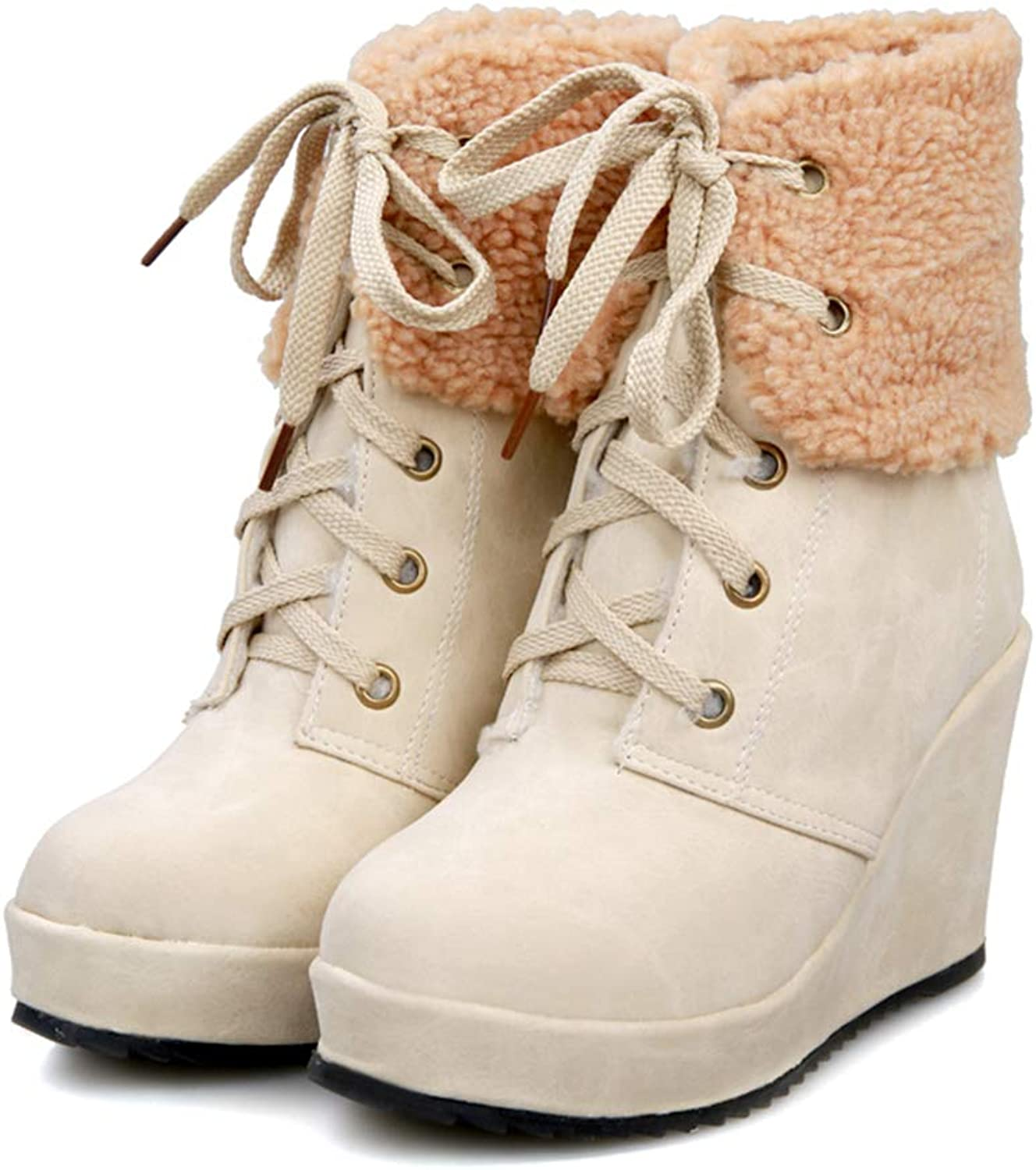 Zarbrina Womens Wedge Platform Fur Lined Ankle Boots Fashion Rubber Sole Lace Up Short Plush High Heel Winter Warm shoes