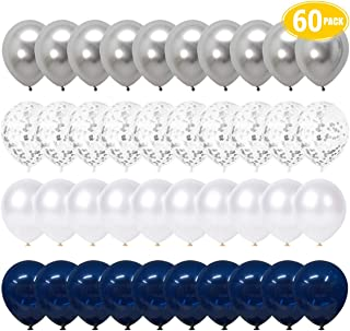 LAKIND Navy Blue and Silver Confetti Balloons, 60pcs 12 inch White Pearl and Silver Metallic Party Balloons for Boys Birthday Party Baby Shower Navy Party Decoration