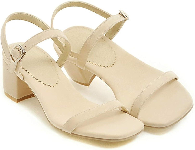 YuJi Design shoes Women Sandals Chunky Heel Sandals Open Toe Buckle Party Mid Heels