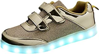 DULEE Unisex Kid's and Adult's LED Light Up Sneaker Cool Luminous Lace Up Flashing Trainers USB Charging Shoes