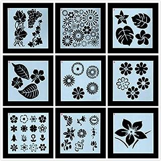TOPTOMMY ステンシル 描画テンプレート お花 葉っぱ 手帳 塗り絵 絵画 再使用可能 9枚入