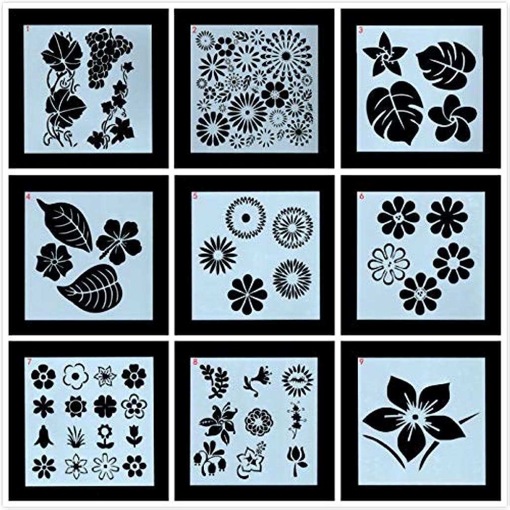 吸う開拓者ウェーハTOPTOMMY ステンシル 描画テンプレート お花 葉っぱ 手帳 塗り絵 絵画 再使用可能 9枚入