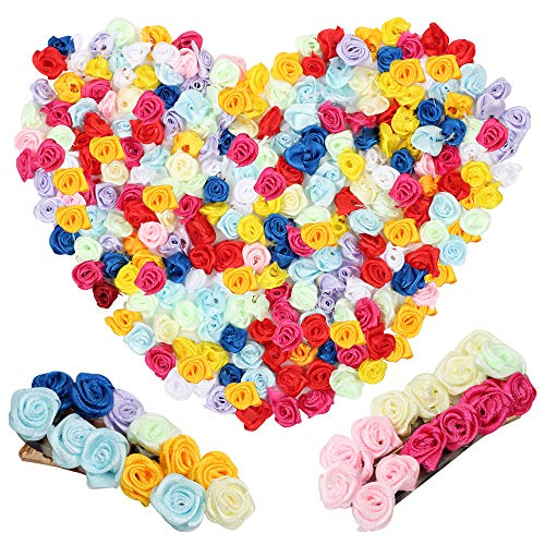 VINFUTUR 250pcs 1.6cm-Mini Flores Rosas Artificiales Pequeñas Decorativas Manualidad Rosas Falsas Seda Colores Cabezas de Flores Adornos para Fiesta Hogar DIY