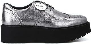HOGAN Luxury Fashion Womens HXW3550AB00MECB205 Silver Lace-Up Shoes   Season Permanent