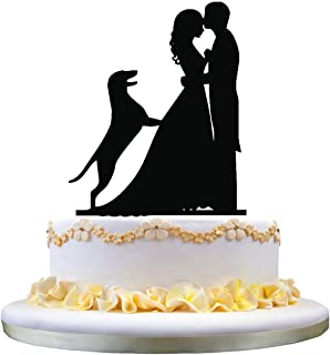 funny wedding cake decor with German Shepherd Dog , rustic wedding cake topper