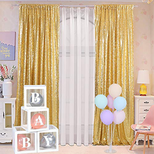 Blxsif Gold Sequin Backdrop Curtains - 2 Panels 2.5x8FT Glitter Gold Photo Backdrop Party Wedding Baby Shower Curtain Sparkle Photography Background