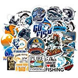 Fishing Laptop Stickers for Teen&Kid&Boy, 50Pcs Pack Cool Vinyl Computer Waterproof Water Bottles Skateboard Luggage Decal Graffiti Patches Decal