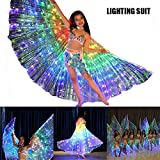 Brianer Rainbow LED Belly Dance Isis Angel Butterfly Wing, Shawl Fairy Performance Clothing, Glow Light Up Belly Dance Costumes for Children