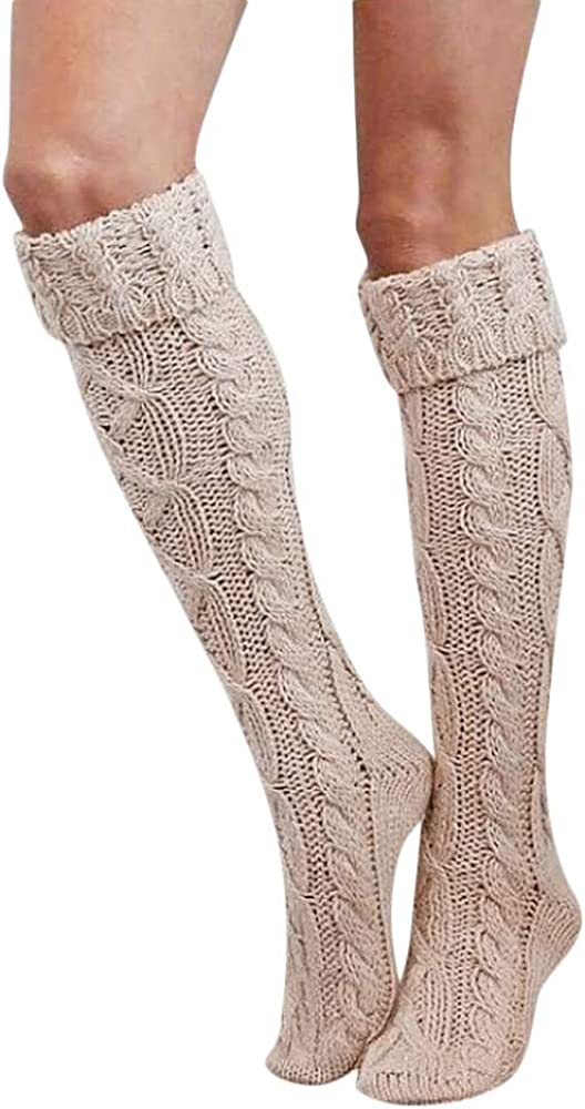 Girls Ladies Women Cotton Thigh High Socks Over the Knee High Boot Stockings Knit Boot Socks