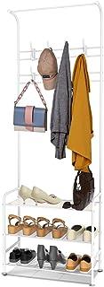 alvorog Porte-Manteaux Meuble d'entrée avec 16 Crochets Amovibles et Étagère à Chaussures à 3 Niveaux, Hauteur 180 cm, Ass...