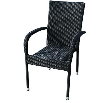 Gartenstuhl Polyrattan Schwarz Sessel Rattan Stapelbar Kmh
