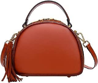 Fashion Women's Retro Rivet Crossbody Bag Solid Color Brown Genuine Leather Shoulder Bag Zipper Handbag Cowhide Shell Bag (Color : Brown)