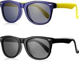 SeeBand Kids Polarized Sunglasses TPEE Rubber Flexible Frame for Age 3-10 (Dark Blue/Yellow,Black)