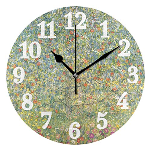 Ahomy Silent Runde Wanduhr Gustav Klimt Apfelbaum in Blüte Home Art Decor 25,4 cm Uhr für Wohnzimmer, Schlafzimmer und Küche